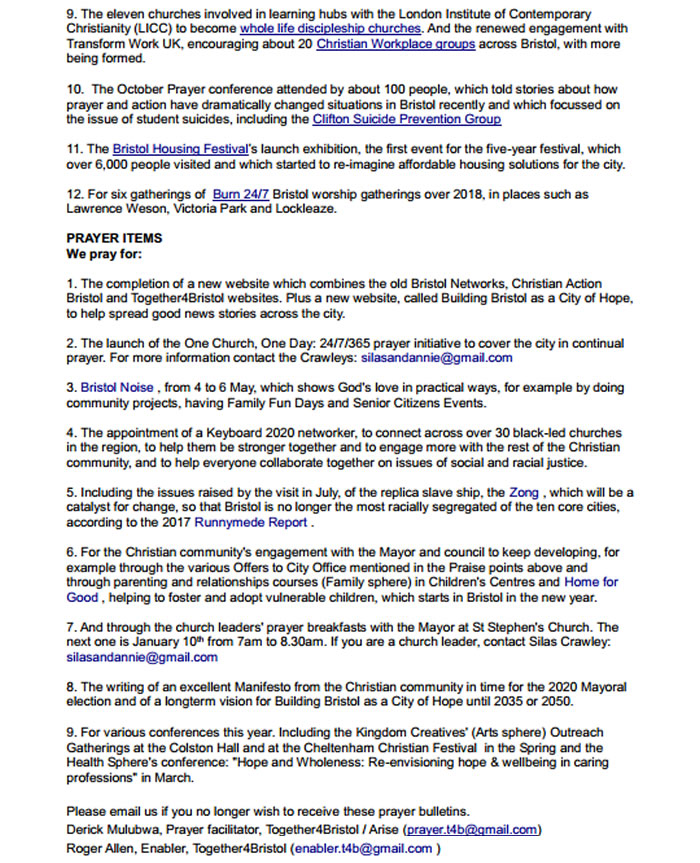 Bristol networks : Praise and Prayer Bulletin Together4Bristol