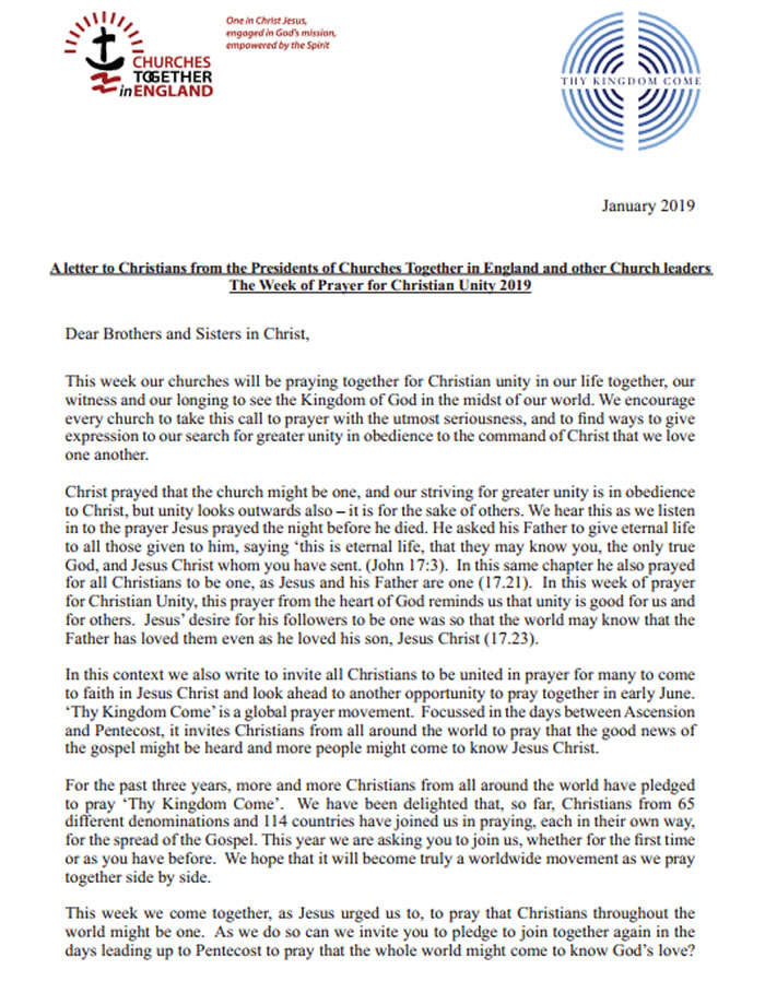 churches tigether letter 19