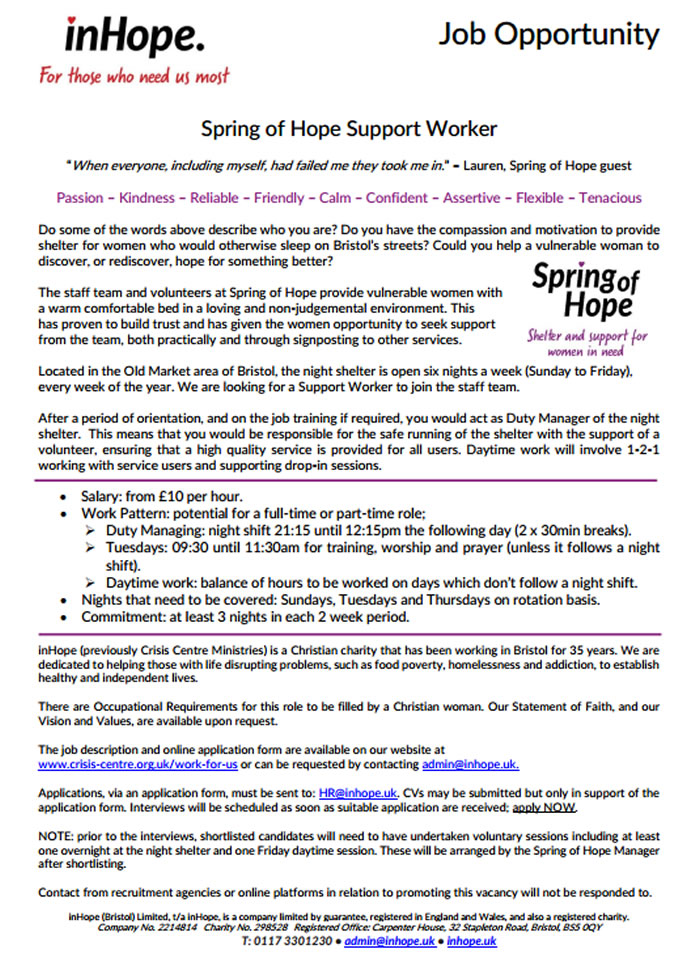 spring of hope support worker